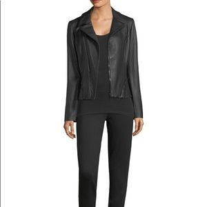 T Tahari Leather Moto Jacket
